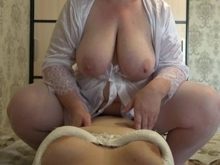 Point of view.mature plumper lesbos and belt dick. Phat all-natural udders
