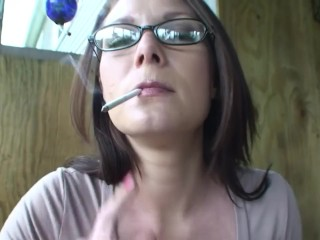 Cougar smoking and coughing because of lung cancer