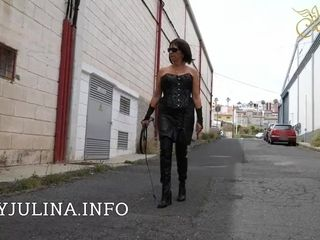 Mature Smoking domina Public ambling Leather shoes cane