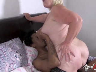 'AGEDLOVE brit doll tempted ebony stud and rail his cock'