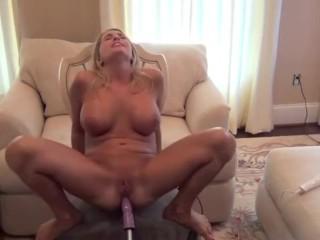 Blondie cougar romps fuck stick machine