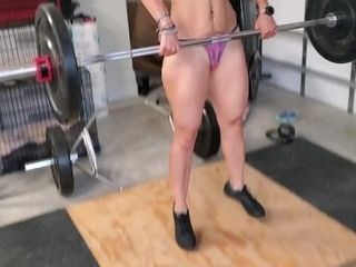 'Nude workouts and flexing with sport cougar completing with a blowjob'