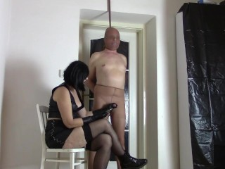 My nylon slave: tugging with leather mittens