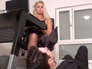 'office mature nylon soles worship'