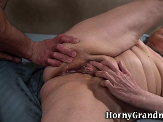 Porked granny creampied