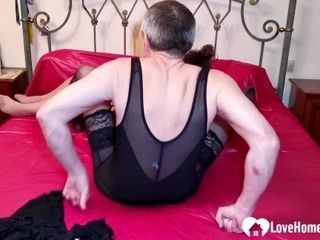 'Hot wifey in stockings gives me an incredible blowjob'