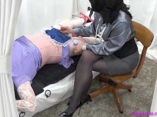 Female dom mummy domina jerks tied Sissy Crossdresser