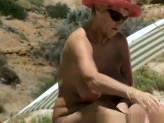 Bosomy nudist granny