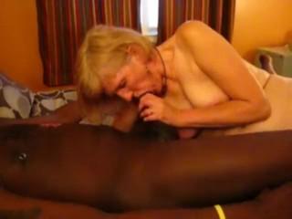 Mature wifey blows big black cock