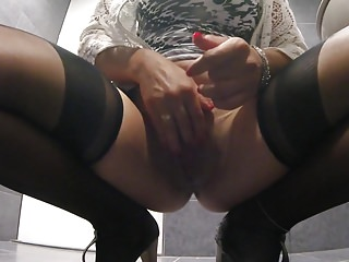 Toilet orgasm with a drenched pussy