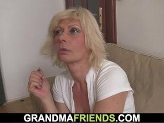 'Old blondie mummy takes dual banging'