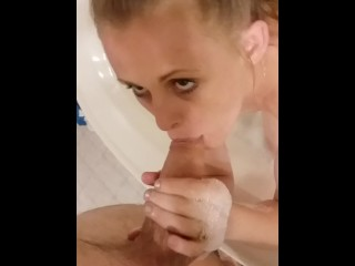 Marvelous wifey Bathes and fellates Hubby's spunk-pump