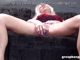 German grandmother gang-fucked by a lot of youthfull fellows