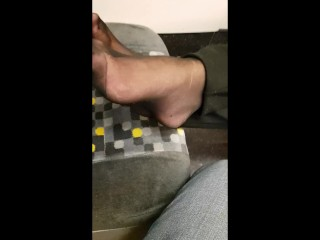 Wifes nylon soles on instruct four