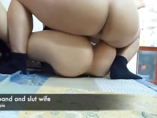 Hubby and cockslut wifey internal cumshot