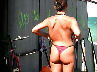 Spy Beach Mature with saggy Tits huge areola hard Nipples