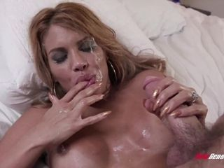 Huge-boobed Latina housewife with hefty hoops pounded in the guest room