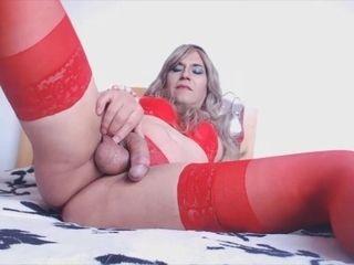 'Sexy blond with crimson underwear and cum'