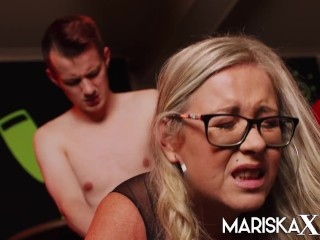 'MARISKAX buxom ash-blonde cougar gets arched over and ravaged by a youthfull guy'
