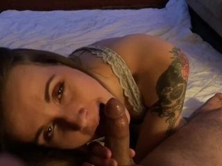 Glorious STONER wifey bj's and gags on husband's trunk CUMPLAY