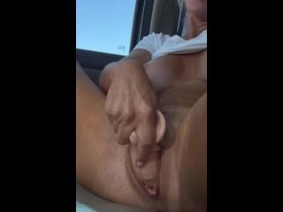 Honcho Hot MILF creams in all directions from turn over chubby dildo after a long time kinetic on high roadtrip