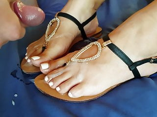 Jizz on my luxurious wife's soles and sandals