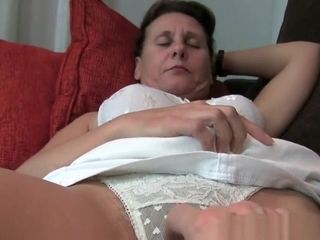 Grandma gets her stiff puffies and furry slit massaged by camera guy
