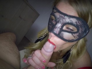 'Dutch hooded honey bj's humungous manstick lovely ass licking and receives an humungous flow of jism on her face and in eye'