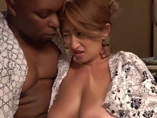 Gigantic ebony masculine pillar had copulation korean wifey