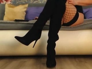 'Girl in high shoes and fishnet stockings'