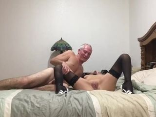 'Hot cougar deep-throats meatpipe and receives creampie'