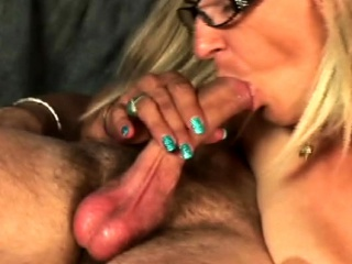 Thirsty mature platinum-blonde with massive fun bags tempts stud
