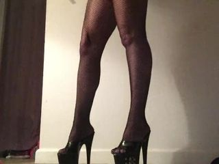 'Fishnets and Stripper high-heeled shoes stunning taunt soles POV'
