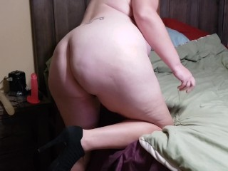 'Chubby wifey bj's penis, gets boned with fake penis, and creampied'