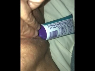Penetrate my own puss with lubricant bottle