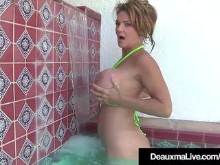 Texas milf Deauxma Plays With Her hefty hooters & vulva Pool!