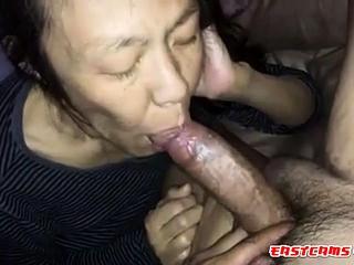 First-timer japanese Mature deep throating