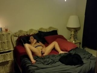 Step-mother cougar caught jacking to gang-fuck porno
