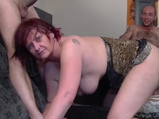 GILF And daughter-in-law gang-fucked