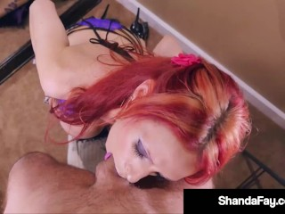 'cock wanking HouseWife Shanda Fay crams Her gullet With Hubbys monstrous cock!'