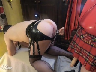 'Stocking Sissy hubby bum Opened, Gaped and Pegged Deep by female domination Mistress'