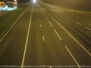 Dutch wifey jacking outside. Above traffic on highway A12