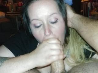 'Horny wifey enjoys inhaling Hubby's good-sized spear - deep throat POV'