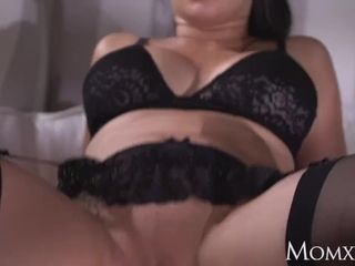 Mommy huge-boobed jaw-dropping French cougar in ebony tights underwear and high stilettos