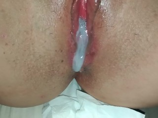 Wifey getting a super-steamy delicious close up internal ejaculation.