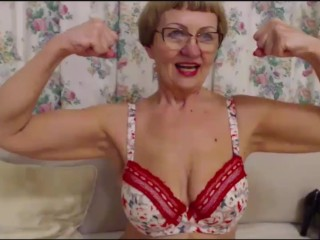 Ancient honcho MILF flexes their way biceps