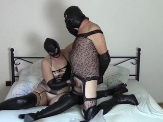 Duo in leather opera mittens (Part 3: mittens milking)