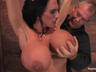 Subjugated cougar with H bowl hooters bound up and nailed with a intercourse fucktoy
