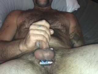 Scorching man wanks off and blows a load on himself, X2, after wifey opened up his a-hole