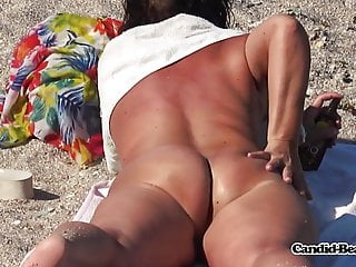 Steaming and crazy Mature naturist cougar Beach hidden cam Spycam hidden cam
